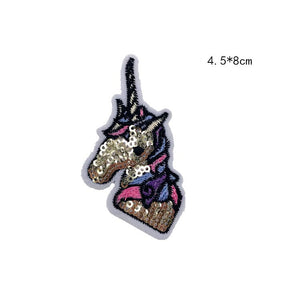Unicorn Sequin Patch Iron On Cartoon Patches Rainbow Horse DIY Sewing Accessories Decoration For Clothes Badge