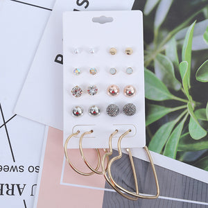 Multi-element Korean version of the hand made personality round love earrings long earrings earrings set