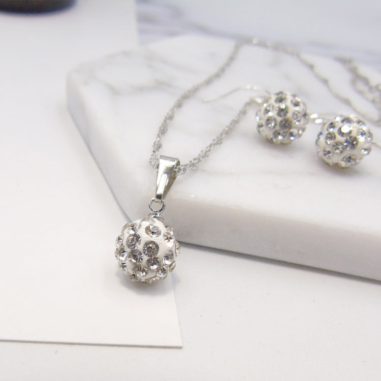 Full Diamond Ball Jewelry Crystal Set Earring Necklace