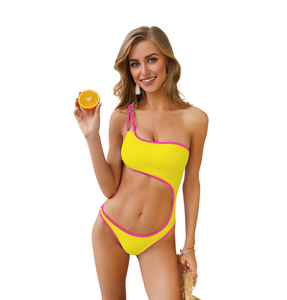 Nylon edging colorblock one-piece swimsuit