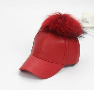 Cute real hairy raccoon fur ball PU leather cavalier hat high quality female autumn/winter cap and parent-child baseball cap