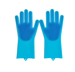 Silicone Cleaning Brush Scrubber Gloves Heat Resistant, Great for Dish wash, Cleaning, Pet hair care (Mint)