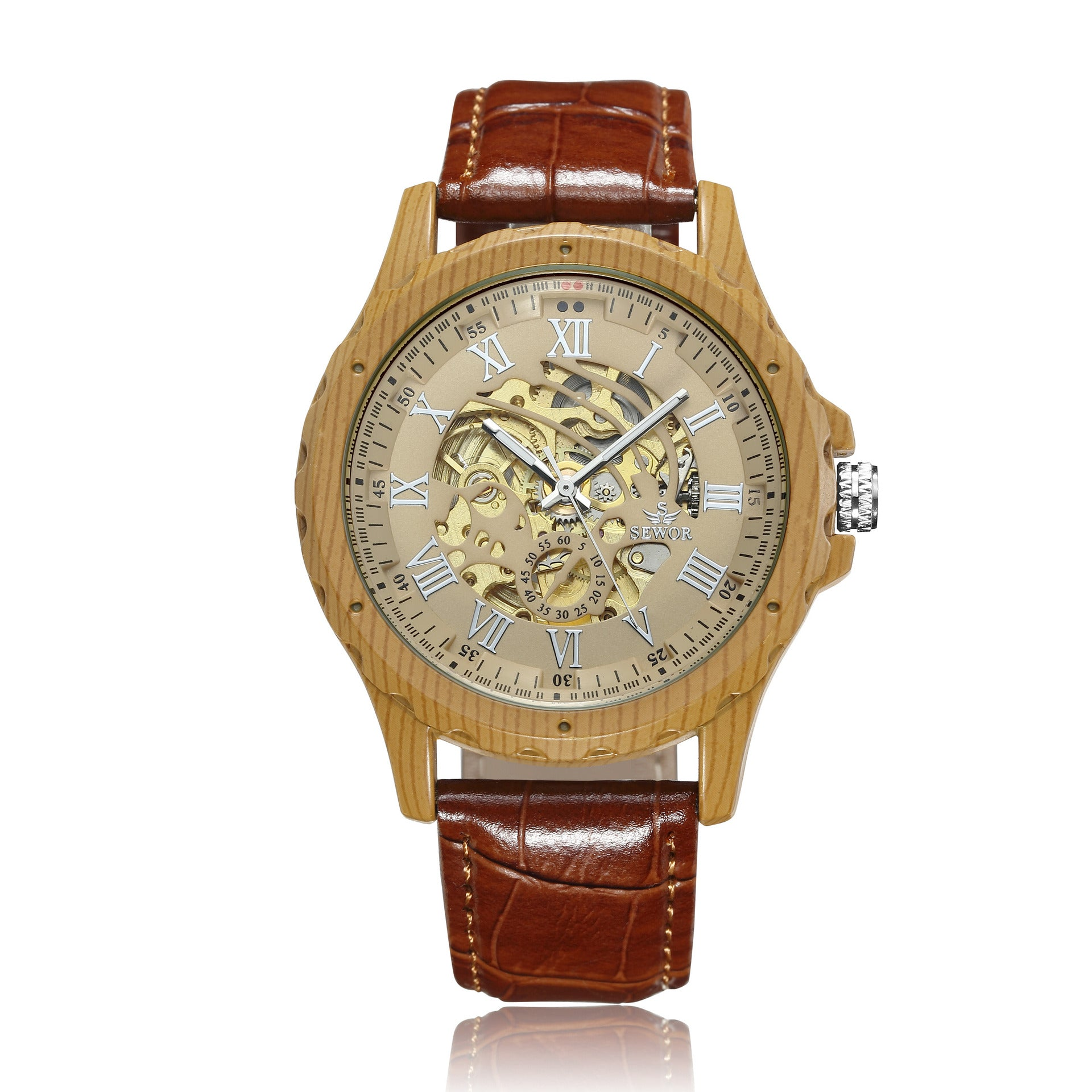 SEWOR genuine creative wooden shell, automatic mechanical explosion, hollow back, men's mechanical watch, belt Watch