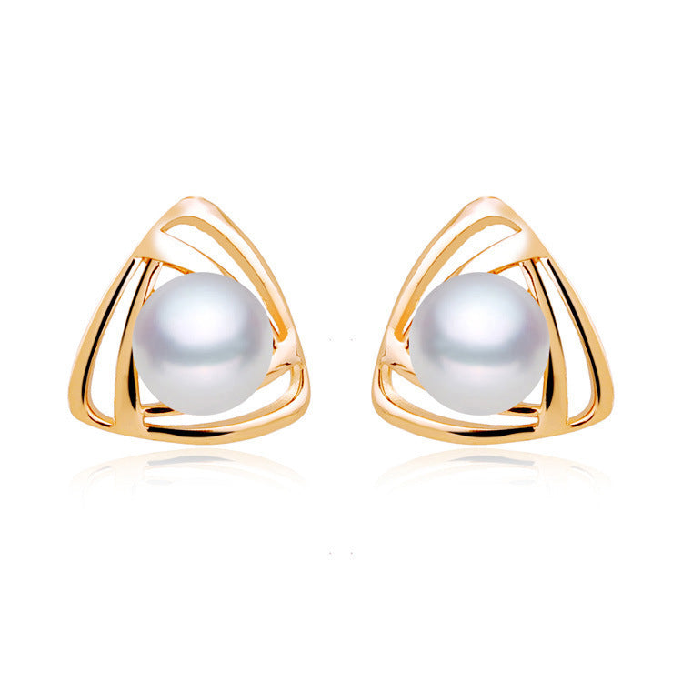 Triangle Natural Freshwater Pearl Necklace Stud Earrings Ring Set