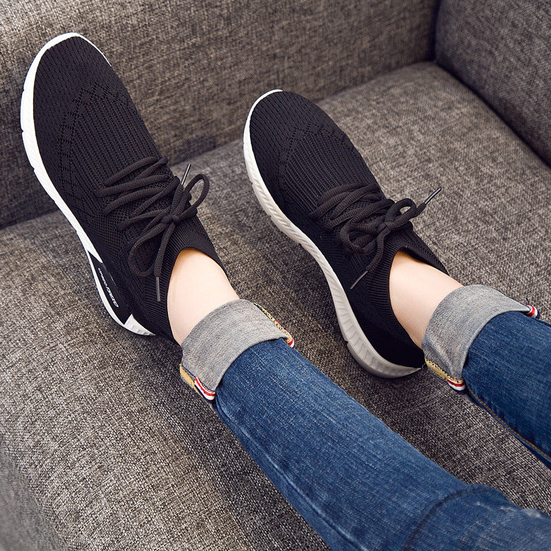 Leisure sports shoes 2020 autumn new Korean flat top, round head lace up, flying shoes, coconut shoes, women's shoes