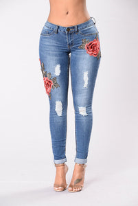 Embroidery jeans stretch jeans pants