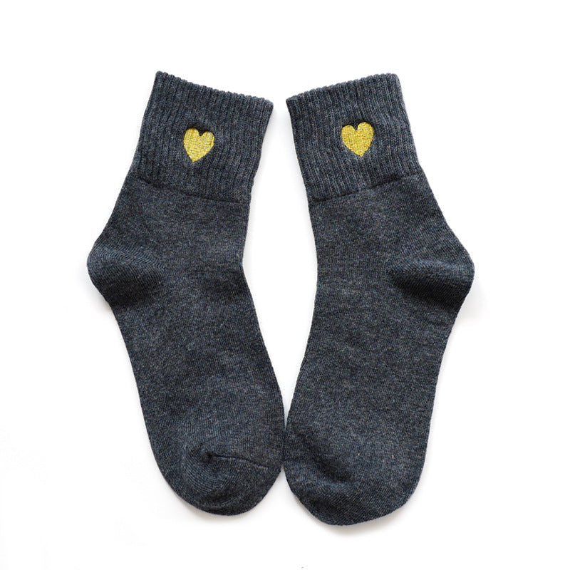 Winter Warn Thicken Socks With Embroidery Heats Shape