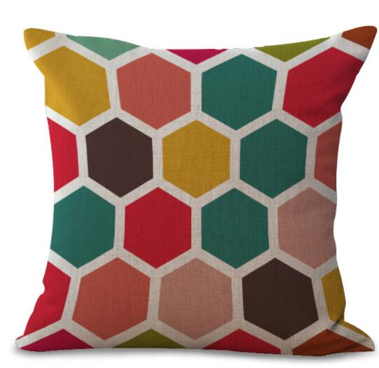 New Colorful Geometric Series Printed Linen Cotton Cushion Cover Home Decor Houseware Throw Pillow Case Almofadas Cojines