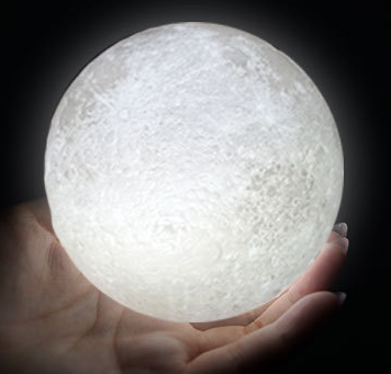 Rechargeable 3D Print Moon Lamp 2 Color Change Touch Switch