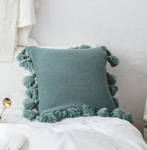 Bohemian Knitted Cushion Cover with Fringe