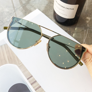 2020 star with the same paragraph sunglasses female big box plain face photo sunglasses cut edge half frame sunglasses men glasses