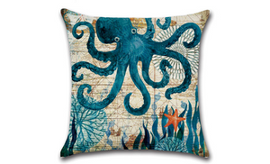 Marine life sea turtle seahorse whale octopus pillow