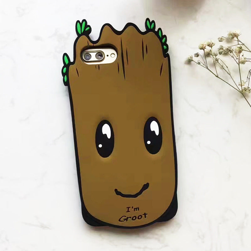 Cartoon 8plus cute elf alien leafy tree man feel silicone anti-drop iphone phone case