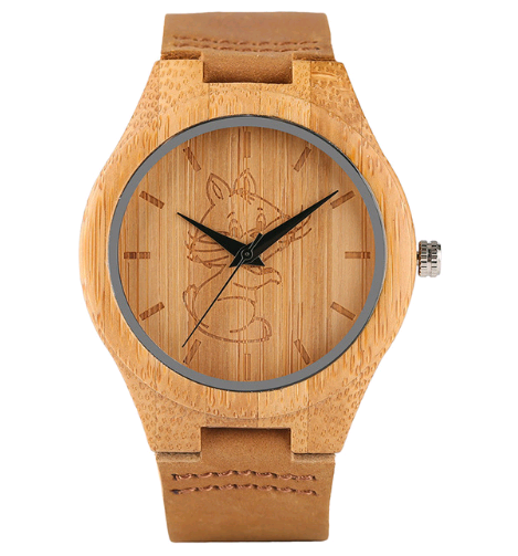Casual handmade bamboo watch for men and women Student simple and lovely animal dog leather watch