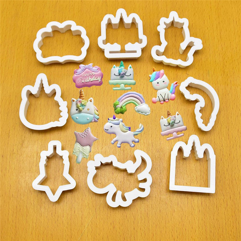 8Pcs/Set Creative Unicorn Cookie Cutter DIY Fondant Chocolate Cake Embossing Stencil Mold Biscuit Mold Baking Tool