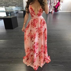 European and American deep V-neck  back chiffon dress