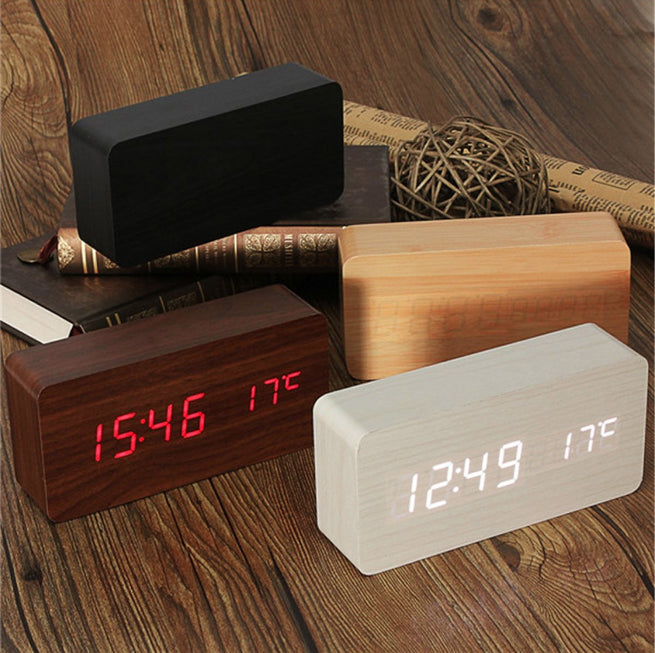 Stylish Wooden LED Alarm Clock w/t Thermometer & Voice Control