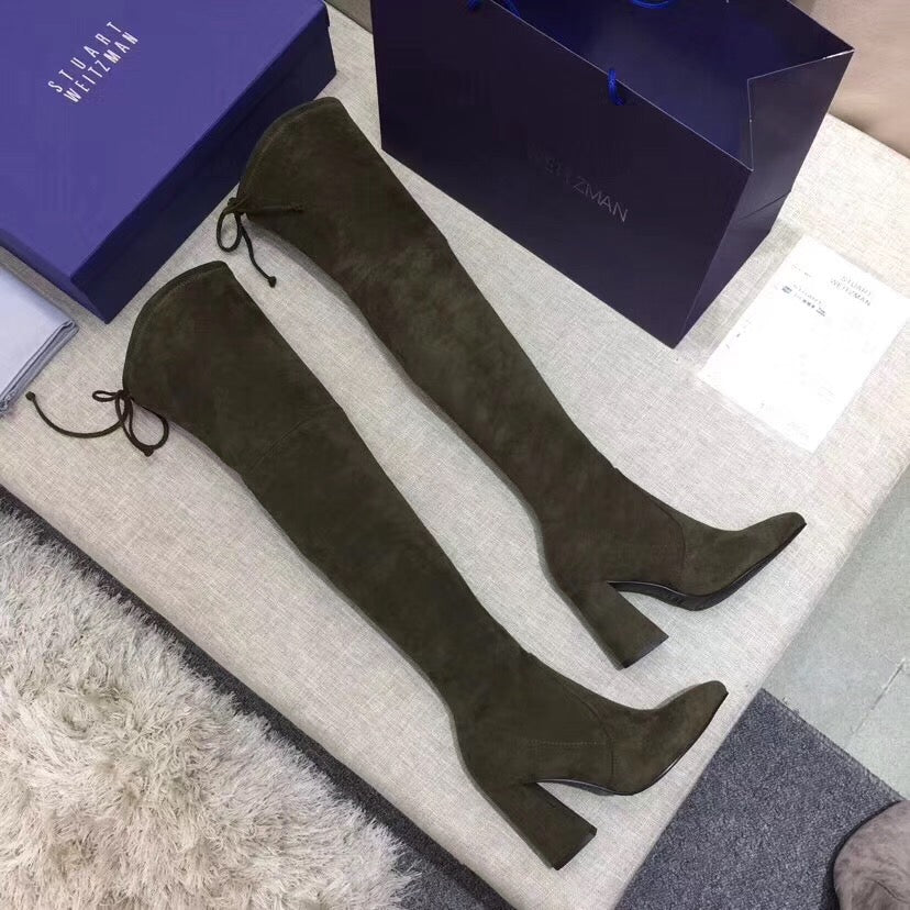 Suede Block Heel Thigh High Signature Boots