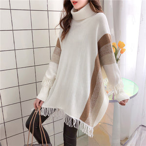 Vivid Vertical Stripe Sleeved Poncho