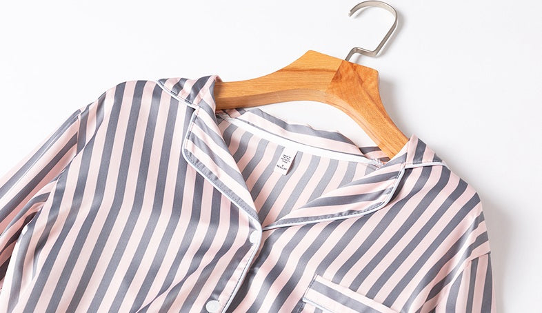 Pink Striped Silky Pajamas