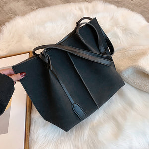 Detailed Cut Suede Shoulder Bag
