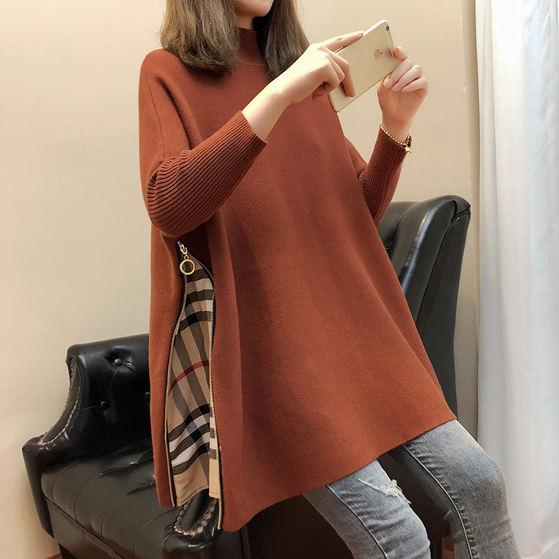 Spacious Side Zipper Sleeved Poncho