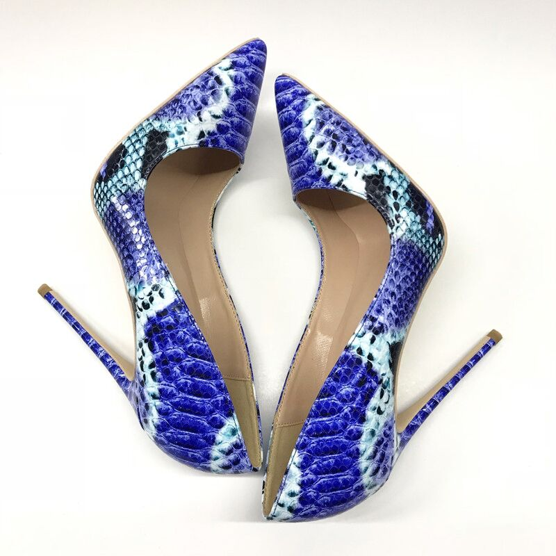 Electric Blue Reticulated Snake Skin Stiletto