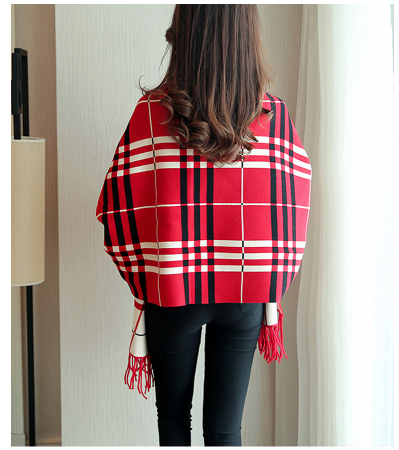 Cute Plaid Sleeved Wrap