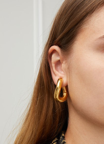 Gorgeous Thick Gold Twisted Oval Hoop Earrings