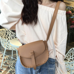 Charming Open Stitch Leather Crossbody Purse