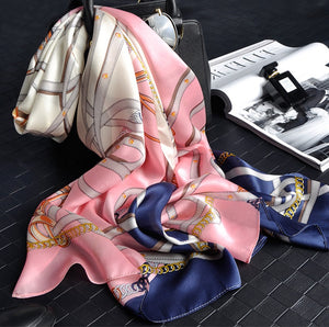 Whimsical Pink & Navy Silk Scarf