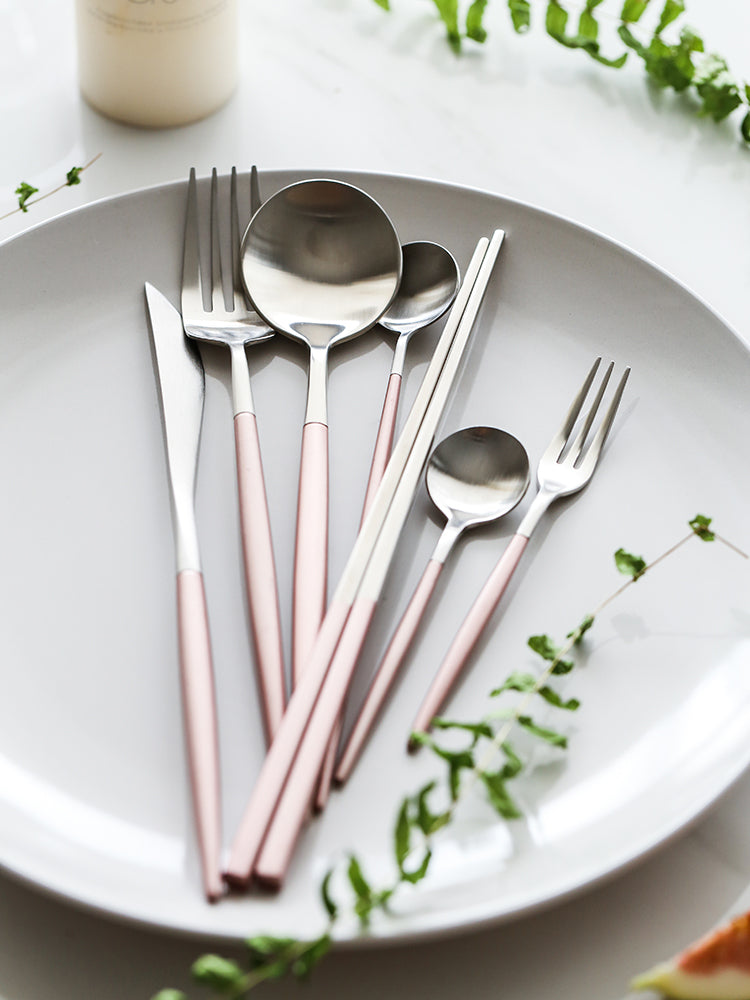 Glowing Metallic Pink Utensil Set