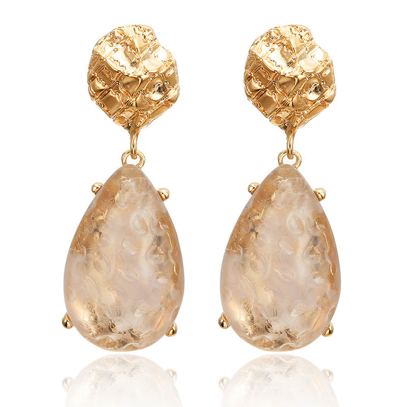 Gold Nugget & Crystal Drop Earrings