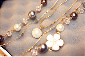 Three Strand Pearls and Flower Necklace