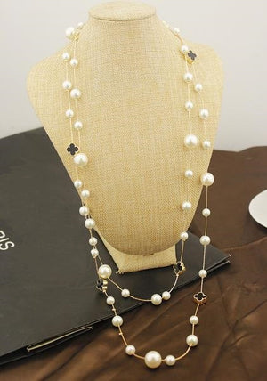 Four Leaf & Pearl Necklace Series I