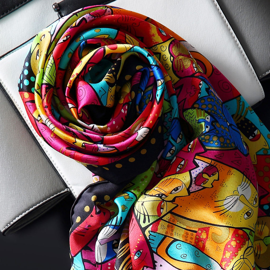 Colorful Cat Silk Scarf