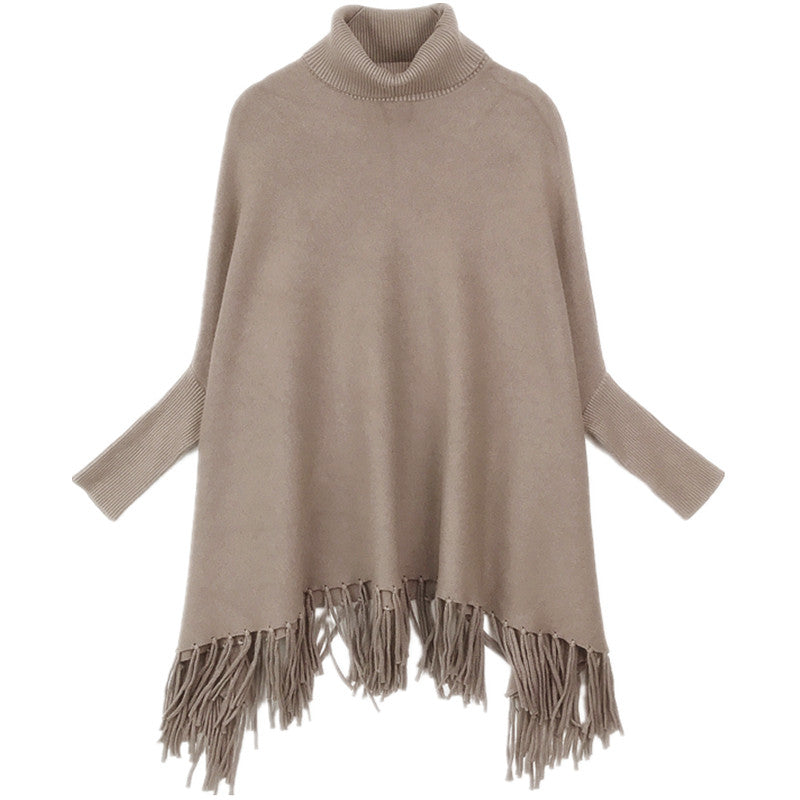 Pretty Monotone Sleeved Poncho