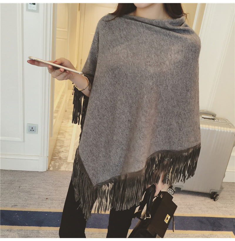 Cute Leather Fringe Knit Poncho