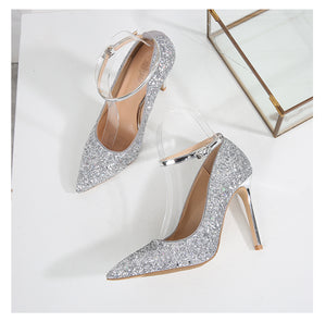 Bedazzled Ankle Strap Stiletto Heels