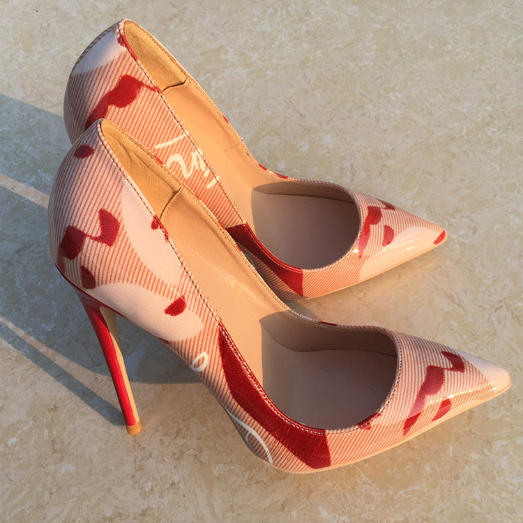 Sultry Red & Pink Patchwork Stiletto
