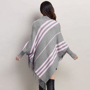 Diagonal Striped Sleeved Poncho