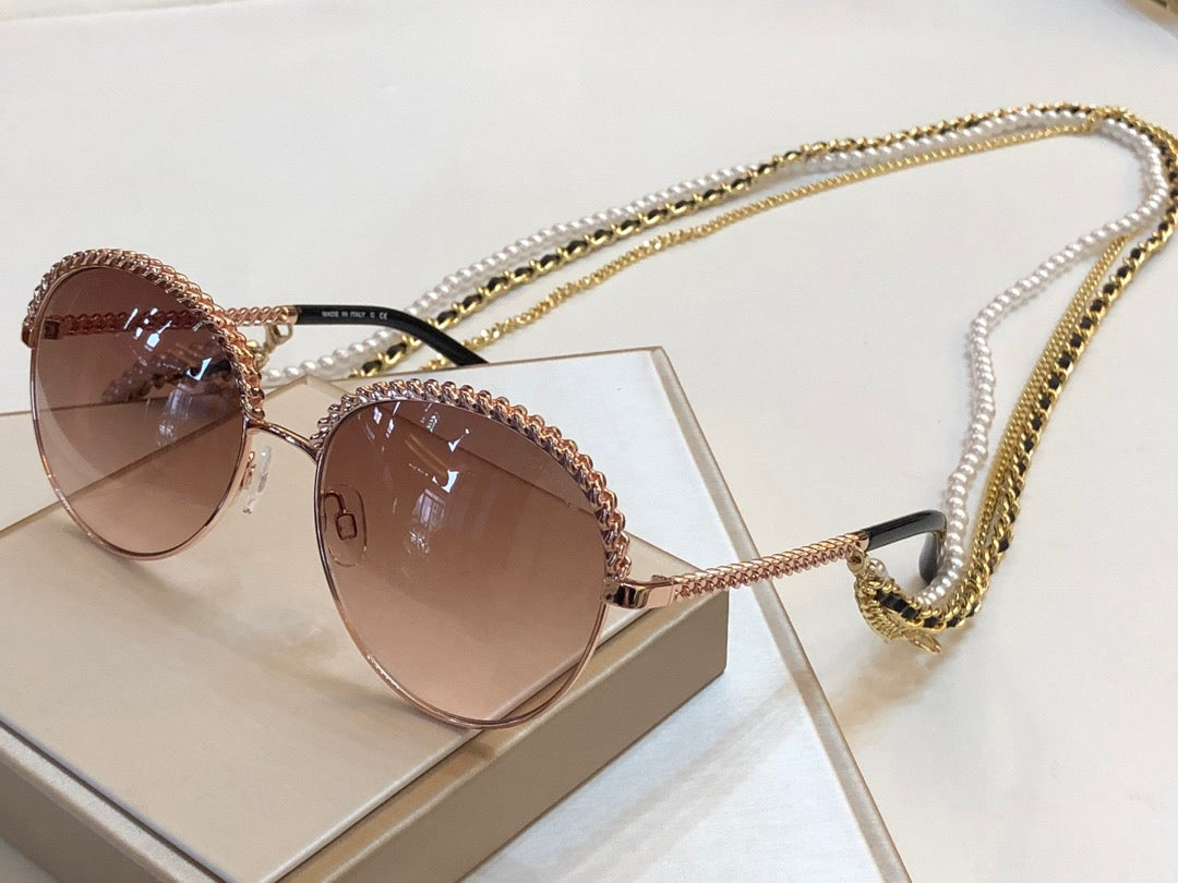 Round Chain Link and Pearl Embellished Sunglasses