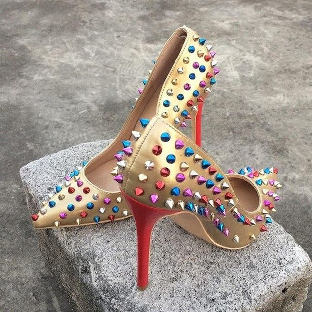Sexy Metal Rivets Studs Pumps Stilettos Heel Pointed Toe Ladies Spikes Shoes Slip on Patent Leather Dress Shoes High Heels Shoes