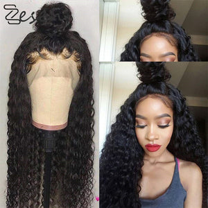 Zesen Black Long Curly Lace Wigs with Baby Hair for Women 13x4 kinky Curly Hair Synthetic Lace Front Wigs Heat Resistant Fiber