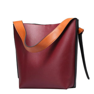Two Tone Large Capacity Cowhide Tote Bag