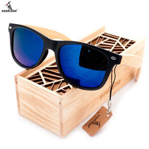 BOBO BIRD High Quality Vintage Black Square Sunglasses With Bamboo Legs Mirrored Polarized Summer Style Travel Eyewear Wood Box
