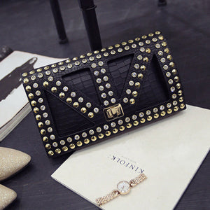 Leather  Spiked  Crossbody Bag