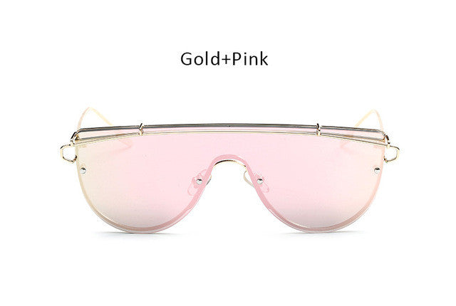 2017 New Oversized Women Flat Top Sunglasses Fashion Korea Steampunk Mirror Sun Glasses Brand Designer Big Size Goggles