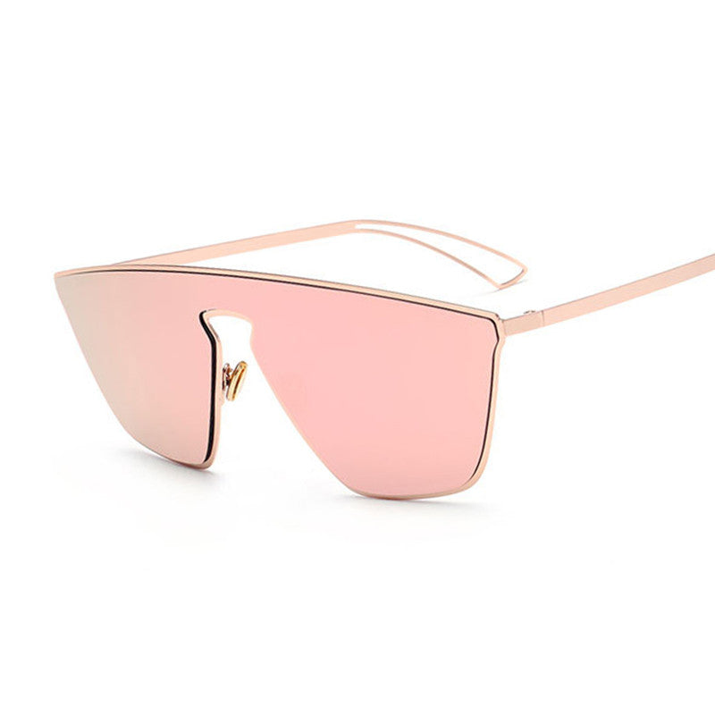 New Fashion Women Cat Eye Sunglasses Unique One Piece Lens Mirror Cateye Sun Glasses