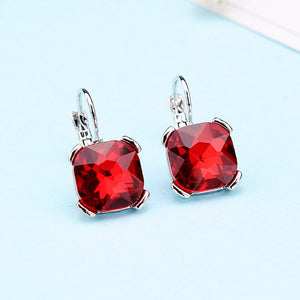 Beautiful Geometric Color Crystal Earrings